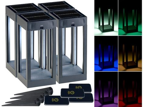 Színes kültéri szolárlámpa 4 darab RGB + W LED-ek, távirányítóval 80 lm 1 W