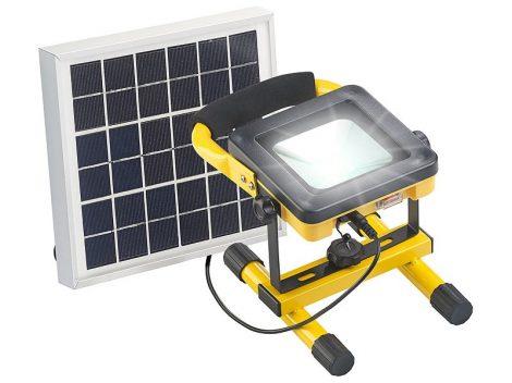 Napelemes LED mobil reflektor akkumulátorral, 4,5W-os napelem 10W 450 lm
