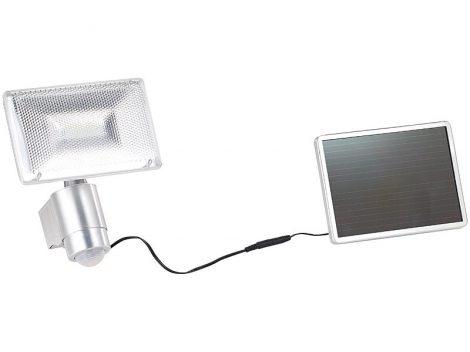 Napelemes LED reflektor alumíniumból PIR érzékelővel, 10 W, 1000 lm, IP44