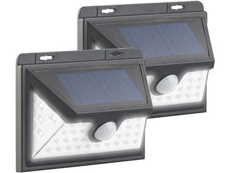 Napelemes LED fali lámpa 2 darab, mozgásérzékelővel, újratölthető akkumulátor 350 lm, 7,2 W