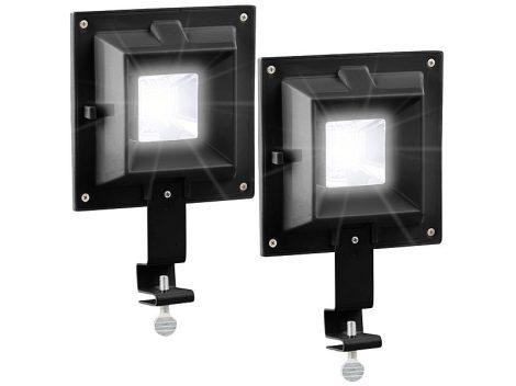 Napelemes LED reflektor 2 darab, 20 lm, fényérzékelővel fekete