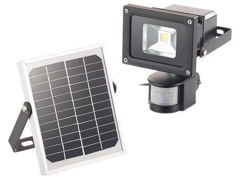 COB-LED Napelemes fali reflektor PIR mozgásérzékelővel, 10 wattos, 600 lumen