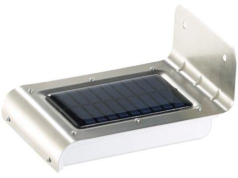 Napelemes LED-es fali lámpa rozsdamentes acél, fény- és mozgásérzékelő 48 lm 0,5 W