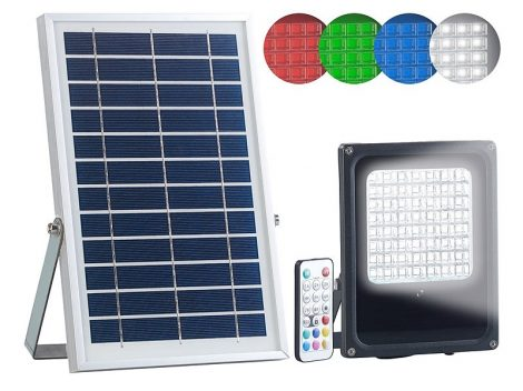Napelemes LED reflektor kültéri, RGBW, 30 watt, távirányítóval és időzítővel