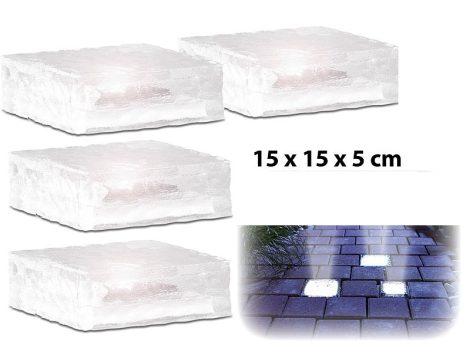 Napelemes LED üvegtégla fényérzékelővel 15 x 15 x 5 cm 4-es szett