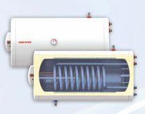Fekvő 120 literes melegvíz tároló 2 hőcserélős napkollektorhoz beépített hőcserélő palásttal és csők