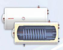 Fekvő 150 literes melegvíz tároló 2 hőcserélős napkollektorhoz beépített hőcserélő palásttal és csők