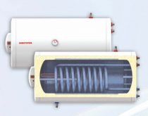 Fekvő 80 literes melegvíz tároló 2 hőcserélős napkollektorhoz beépített hőcserélő palást