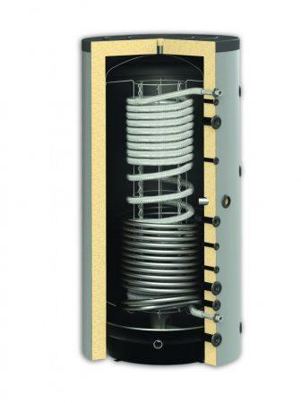 Puffer tartál 1 inox és 1 acél hőcserélővel 1000 literes tartály hőszigetelt.