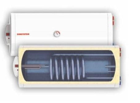 Fekvő 80 literes SunSystem melegvíz tároló 1 hőcserélős napkollektorhoz Vízszintes hőcserélős fali b