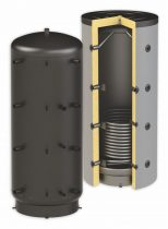 Puffertartály - 1 hőcserélővel 2000 literes tároló, speciálisan SAROKBA IS HELYEZHETŐ, melegvíz tár