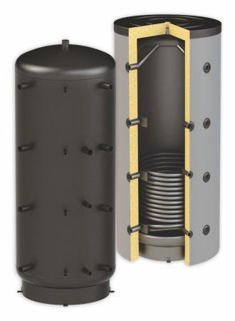 Puffertartály - 1 hőcserélővel 4000 literes tároló, speciálisan SAROKBA IS HELYEZHETŐ, melegvíz
