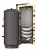 Fűtési puffer tároló - 1 hőcserélővel hőszigetelt 1000 literes tartály melegvíz tárolás céljára