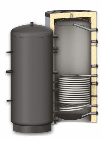 Fűtési puffer tároló - 1 hőcserélővel 2000 literes tartály melegvíz tárolás céljára
