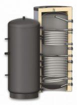 Fűtési puffer tároló - 2 hőcserélővel hőszigetelt 2000 literes tartály melegvíz tárolás céljára