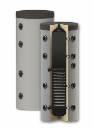 Fűtési keskeny puffer tartály - 1 hőcserélővel hőszigetelt 200 literes tartály melegvíz tárolás célj