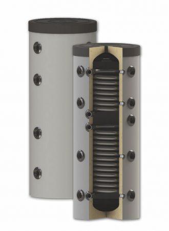 Fűtési keskeny puffer tároló - 2 hőcserélővel hőszigetelt 150 literes tartály melegvíz tárolás céljá