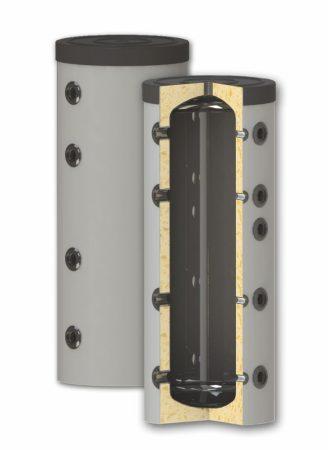 Fűtési keskeny puffer tároló - hőcserélő nélkül hőszigetelt 150 literes tartály melegvíz tárolás