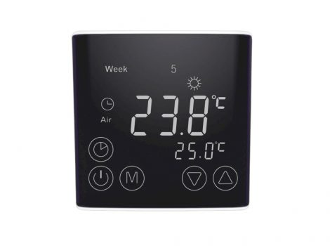 Digitális érintőképernyős termosztát elektromos padlófűtéshez 16A fekete
