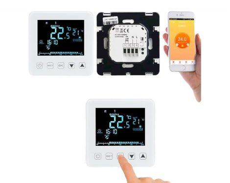 Wi-fi-s termosztát LCD kijelzővel, hangvezérlővel irányítható