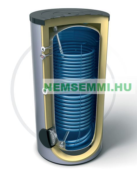 2000 literes két hõcserélõs használati melegvíz tároló Fűtési és napkollektorrészére Zománcozott tartály 2 hőcserélős HMV