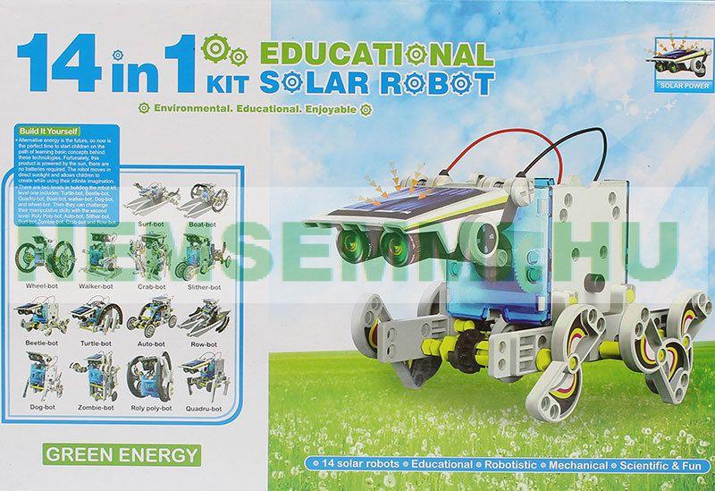 Napelemes modell játék 14  az 1-ben robot építő A készletből összerakható 14 különböző robot: napelemes autó, robot, lépegető, csónak...