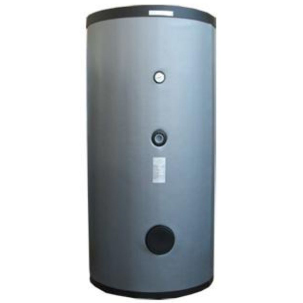 Puffer tároló hőcserélő nélkül 800 literes hőszigetelt tartály melegvíz tárolás céljára.