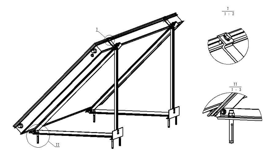 FIVE  PTY8020 horizontális síkkollektor napkollektor szerelő keret lapos tetőre vagy talajra 45 fok  9 év garancia