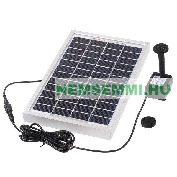 Szökőkút szivattyú napelemről működtethető. Nagyteljesítményű  380 l/h 160 cm max magasság napelem 12V 5W kerti tó levegőztető levegőztetés vízforgató halastó