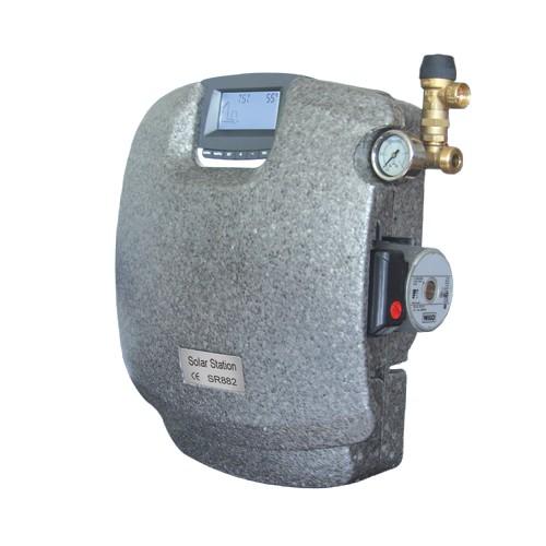 Napkollektor vezérlés SR882  2 körös szolár szivattyú állomás szabályzó SD kártyás adatrögzítés és Wilo keringető egység + extra buborék leválasztó